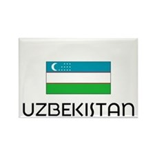 I HEART UZBEKISTAN FLAG Rectangle Magnet