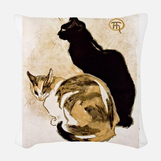 Steinlen Cats.png Woven Throw Pillow