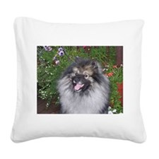Keeshond Smiling Square Canvas Pillow