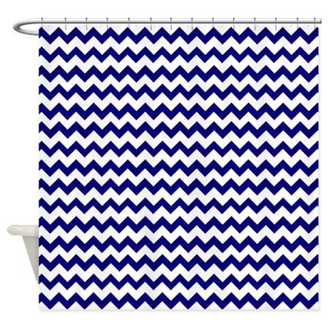 Chevron Pattern Navy Blue And White Shower Curtain By Cutetoboot