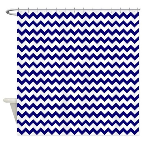chevron pattern navy blue and white shower curtain