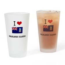 I HEART FALKLAND ISLANDS FLAG Drinking Glass