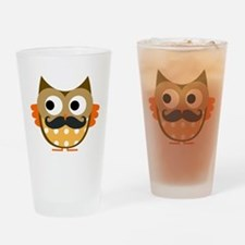 Mustachioed Owl Drinking Glass