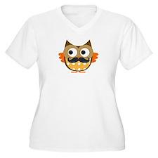 Mustachioed Owl Plus Size T-Shirt
