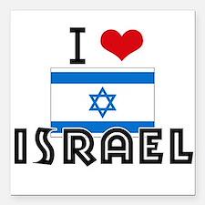 "I HEART ISRAEL FLAG Square Car Magnet 3"" x 3"""