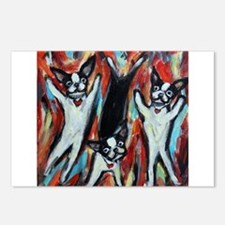 Boston Terrier love dance party Postcards (Package