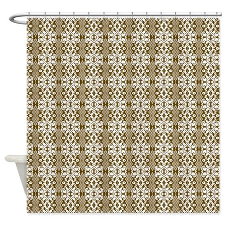 Dark Gold Brown Damask Shower Curtain By Graphicallusions