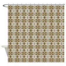 Dark Gold Brown Damask Shower Curtain