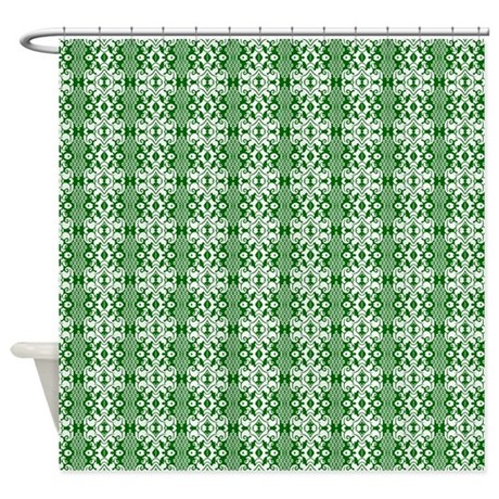 Dark Green And White Damask Shower Curtain By Graphicallusions