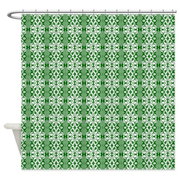 dark green and white damask shower curtain by graphicallusions. Black Bedroom Furniture Sets. Home Design Ideas