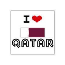 I HEART QATAR FLAG Sticker