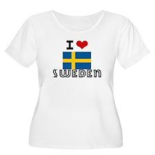 I HEART SWEDEN FLAG Plus Size T-Shirt