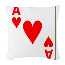Ace of Hearts Playing Card Woven Throw Pillow