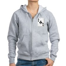 Ace of Clubs Playing Card Zip Hoodie