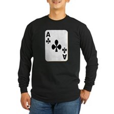 Ace of Clubs Playing Card Long Sleeve T-Shirt