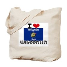 I HEART WISCONSIN FLAG Tote Bag
