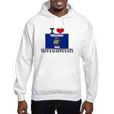 I HEART WISCONSIN FLAG Hoodie