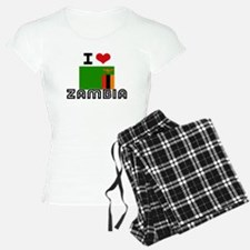 I HEART ZAMBIA FLAG Pajamas