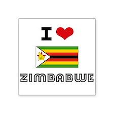 I HEART ZIMBABWE FLAG Sticker