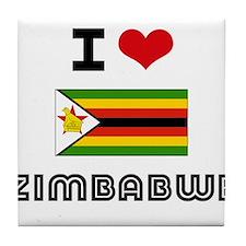 I HEART ZIMBABWE FLAG Tile Coaster