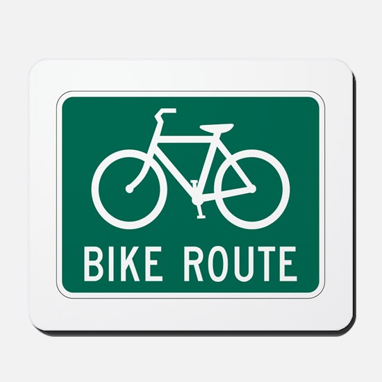 Bike Route Sign Mousepad