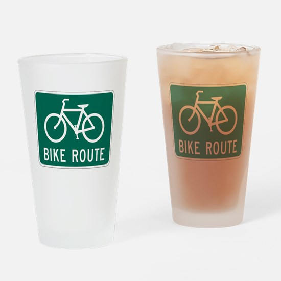 Bike Route Sign Drinking Glass