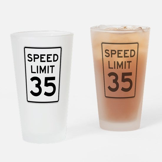 Speed Limit 35 Sign Drinking Glass