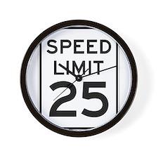 Speed Limit 25 Sign Wall Clock