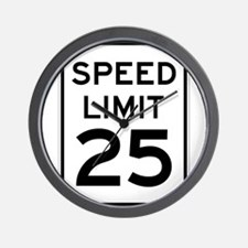 Speed Limit 25 Sign Wall Clock