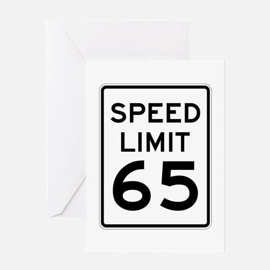 Speed Limit 65 Sign Greeting Card