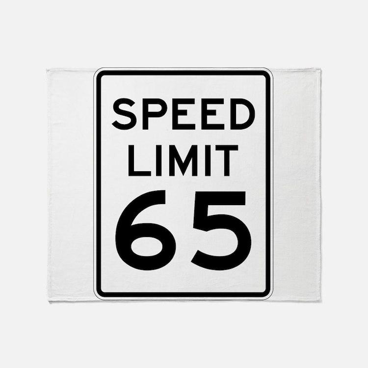 Speed Limit 65 Sign Throw Blanket