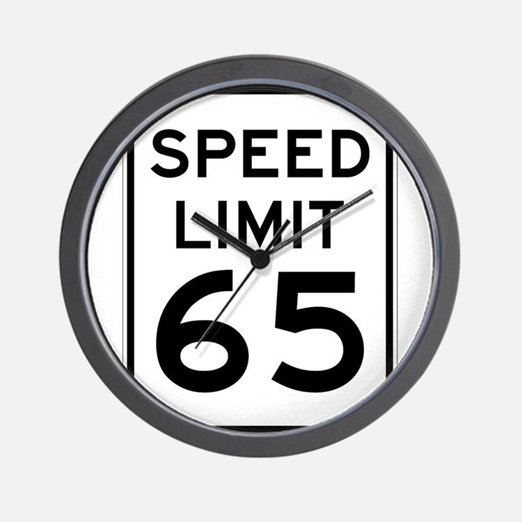 Speed Limit 65 Sign Wall Clock