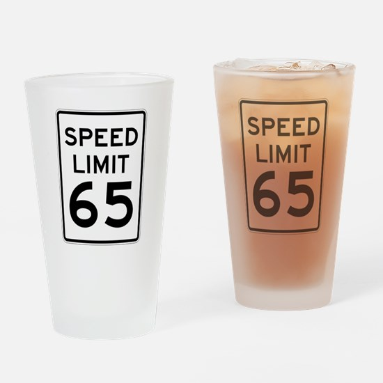 Speed Limit 65 Sign Drinking Glass