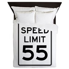 Speed Limit 55 Sign Queen Duvet