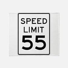 Speed Limit 55 Sign Throw Blanket