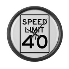 Speed Limit 40 Sign Large Wall Clock