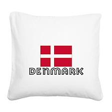 I HEART DENMARK FLAG Square Canvas Pillow