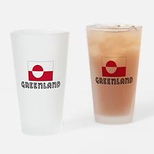 I HEART GREENLAND FLAG Drinking Glass