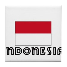 I HEART INDONESIA FLAG Tile Coaster