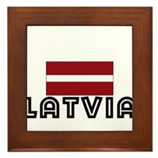 I HEART LATVIA FLAG Framed Tile