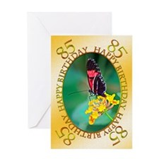 85th birthday. butterfly on a flower Greeting Card