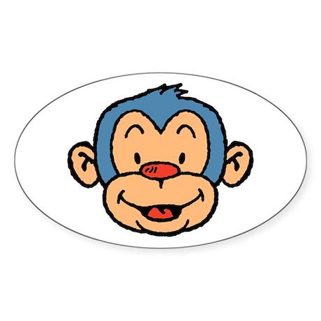 Blue Monkey Oval Sticker