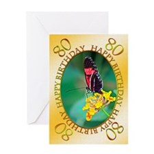 80th birthday, butterfly on a flower Greeting Card