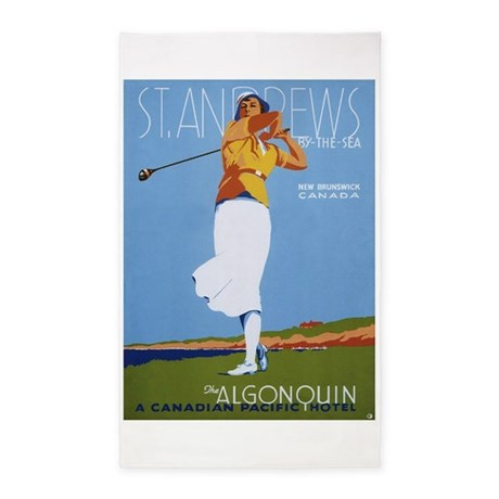St. Andrews, Golf, Vintage Poster 3'x5' Area Rug
