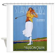St. Andrews, Golf, Vintage Poster Shower Curtain