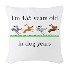 65 dog years birthday 1 Woven Throw Pillow