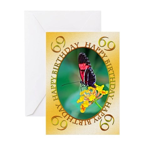 69th birthday, butterfly on a flower Greeting Card