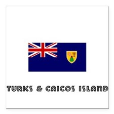 I HEART TURKS & CAICOS ISLAND FLAG Square Car Magn