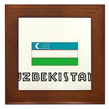 I HEART UZBEKISTAN FLAG Framed Tile