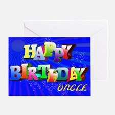Uncle, Bright letters and bubbles birthday card Gr